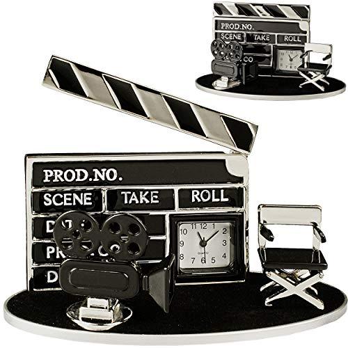 alles-meine.de GmbH kleine - Tischuhr / Miniatur - Uhr - Filmklappe + Filmkamera - Kino Film - aus Metall - 10 cm - batteriebetrieben - Analog - Batterie - schwarz - Zahlen Stehu..