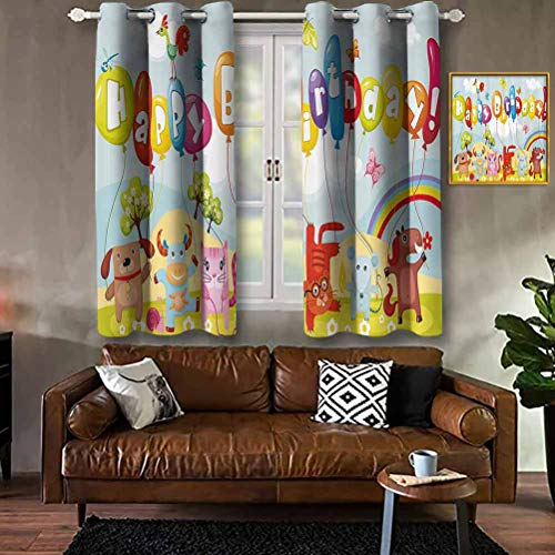 RenteriaDecor Birthday Decorations for Kids,Farm Life Animals Balloons Rainbow Clouds Village Theme Party,Multicolor Modern Print Curtains Windows Curtain for Living Room W84 X L72 Inch