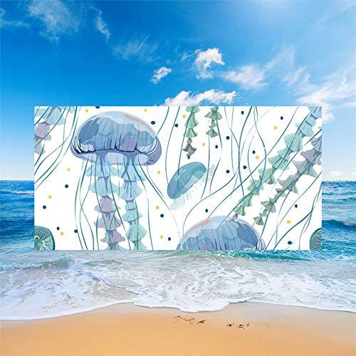 Fansu Toalla de Playa Secado Rapido Microfibra Absorción Mundo Submarino 3D, Rectangular Multi-Funcional para Toalla Baño Mantel Nadar Deportes Viajes Decoración (Medusa Blanca,70 * 150cm)
