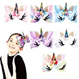Oaoleer 6pcs 8 inch Unicorn Large Hair Bows with Alligator Clip Gift for Girls Toddles