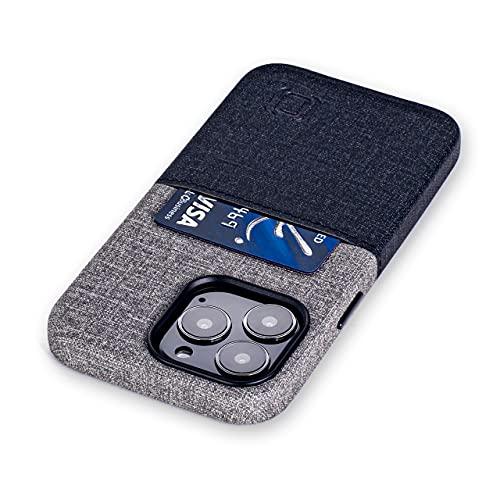 Dockem Funda Tipo Tarjetera para iPhone 13 Pro con Placa de Metal Integrada para Montaje Magnético & 1 Ranura Plana para Tarjeta, Cuero Sintético Estilo Lona (6,1' Pro Luxe M1, Negro y Gris)