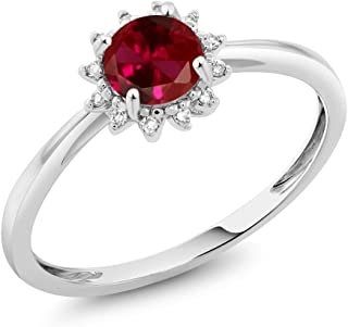 Gem Stone King 10K White Gold 0.60 Ct Round Red Created Ruby and Diamond Engagement Ring (Available 5,6,7,8,9)