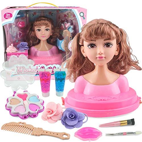 Seciie Schminkkopf Kinder, Super Model Styling Head, 18cm hoher Frisierkopf- und Schminkkopf inklusiv Kosmetik und Zubehör für Mädchen ab 3 Jahren