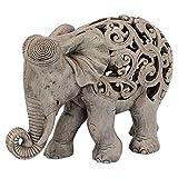 Design Toscano Anjan l'Elefante Arredo in stile Indiano Jali Statua Animale, poliresina, Pietra marrone, 30,5 cm