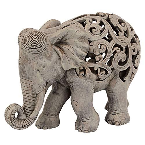 Design Toscano Anjan l'Éléphant Décor Indien Statue d'Animal Jali, 30.5 cm, polyrésine, Marron Pierre