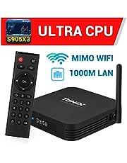 Android TV Box【4GB RAM 64GB ROM】 TaNix TX5 Plus TV Box 1000Mbps LAN Android 9.0 Amlogic S905X3 Quad-Core 64bit Cortex-A55 MIMO WiFi 2.4GHz / 5GHz, 3D Ultra HD 4K 8K H.265 USB 3.0 BT 5.0 Smart TV Box