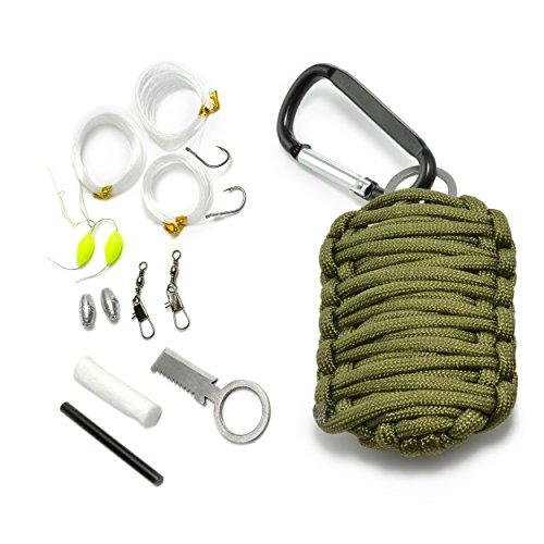 Ganzoo Paracord 550 Survival – Kit, 12 teiliges Set als Überlebensausrüstung, Outdoor Set, Survival Set, Marke Ganzoo (Olive)