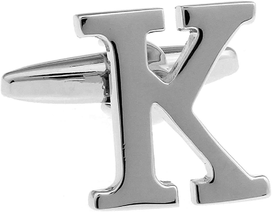 MRCUFF Letter K Pair Cufflinks in a Presentation Gift Box & Polishing Cloth