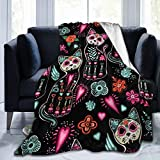 Ouqiuwa Day of The Dead Cat Kitten Sugar Skull Throw Blanket Soft Lightweight Durable Flannel Fleece Blanket 50