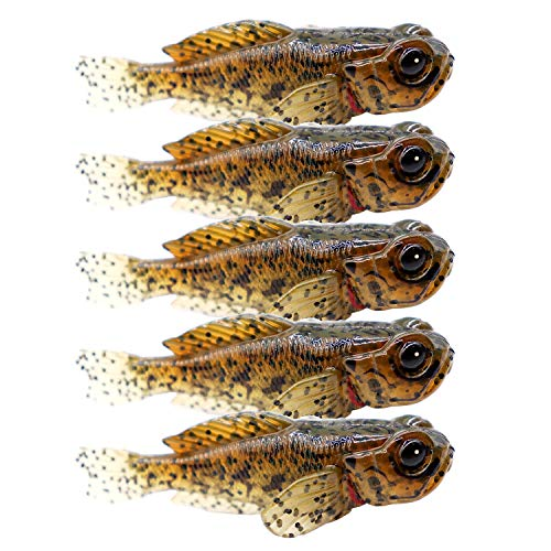 5 Pack Fishing Lure for Bass Lifelike Silicone Goby Soft Baits & attractants Swimbaits Trout Crappie Lures 0.33oz 3inch