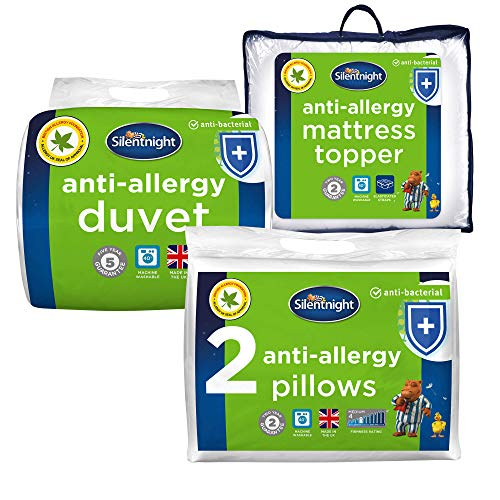 Silentnight Anti Allergy Bed Bundle - x2 Pillows, 10.5 Tog Duvet & Mattress Topper, King