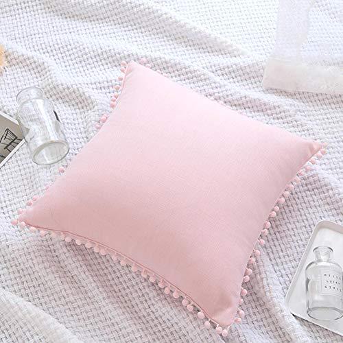 Kissenbezug, nordisch, einfarbig, Prinzessinnen-Ball, Kissenbezug, modisch, mit Fransen, einfache Sofakissenhülle für Zuhause und Wohnen, Auto, Taillen-Kissenbezug, 45 x 45 cm (ohne Kissen), rosa