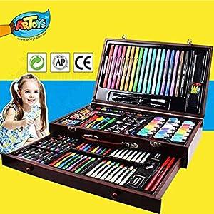 ARTOYS Set de Pintura Niños,123 Piezas Caja de Madera con Set artístico,lápices de Colores,Marcadores,Pintura Acrílica…