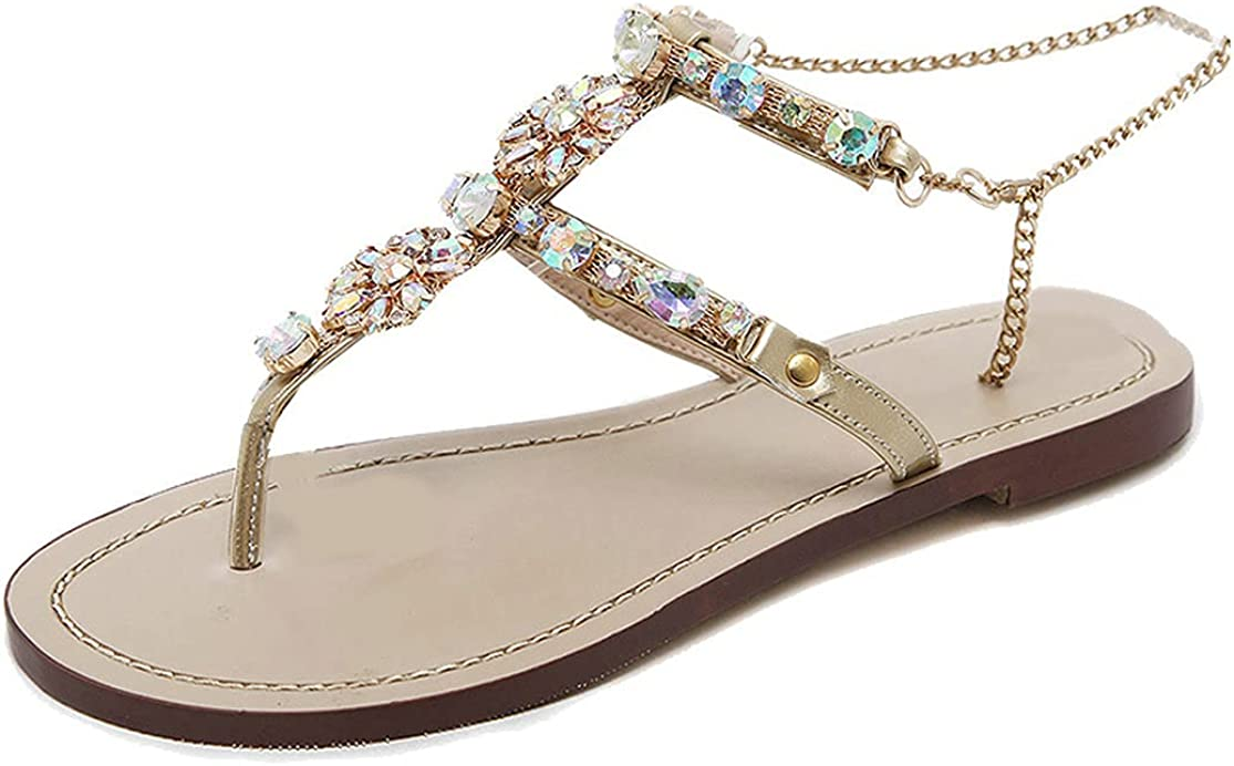 Womens Flip trend rank Flop Sandals Rhinestone Flat discount Gladiator with A Sandal