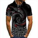 3D Polos Para Hombre,Moda 3D Impresión Polo Camisas Cortas, Divertido Negro Swirl Gráfico Casual Transpirable Regular Ajuste Camisetas Superiores, Summer Sport Camisas De Playa Streetwear,4X,Large
