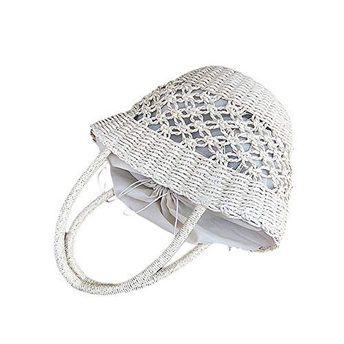 XIXIAO Vegetable Basket Bucket Bag Seaside Vacation Beach Bag Hand-Woven Bag for Ladies Weekender Travel