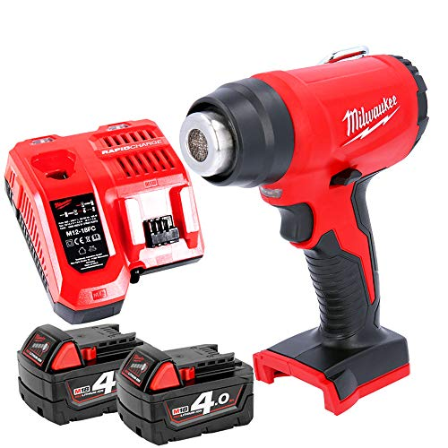 Milwaukee M18BHG 18v Cordless Compact Heat Gun with 2 x 4.0Ah Batteries & Charger