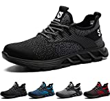 SUADEX Zapatos de Seguridad Hombre Mujer, Zapatillas de Seguridad Hombre Trabajo Punta de Acero Calzado de Seguridad Deportivo (Negro,39EU)