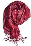 Pashmina bufanda de 100% seda de la India para hombres y mujeres, patrón cachemir/paisley, 160 x 35 cm - pañuelo de seda pura, rojo