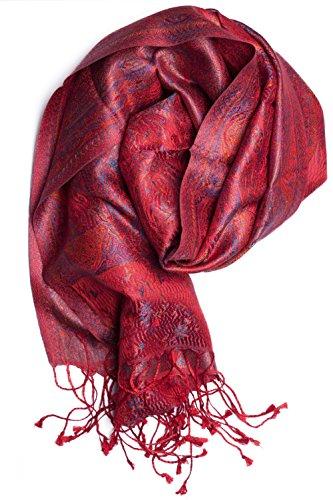 ufash Pashmina 100% Seidenschal aus Indien für Damen & Herren, Paisley Muster, 160 x 35 cm - Schal aus reiner Seide, Rot