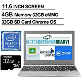 2020 Newest Samsung Chromebook 4 11.6 Inch Laptop, Intel Celeron N4000 up to 2.6 GHz, 4GB LPDDR4 RAM, 32GB eMMC, WiFi, Bluetooth, Webcam, Chrome OS + NexiGo 32GB MicroSD Card Bundle