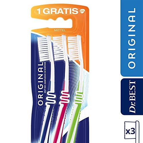Dr.BEST Original Zahnbürste, Mittel, Vorteilspack (2 Stück + 1 Stück Gratis), hilft, das Zahnfleisch zu schützen