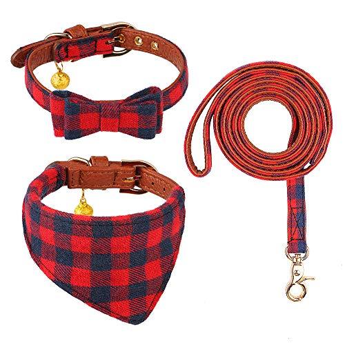 chede Set mit Fliege, Hundehalsband und Leine, klassisches Karomuster, verstellbares Hundehalstuch und Halsbänder mit Glöckchen für Welpen, Katzen, 3 Stück (XXS (19,1 cm - 24,4 cm), rotes Gitter)