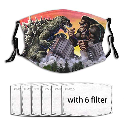 Kawaii Mouth Guard with Replaceable PM2.5 Activated Carbon Cover for Farmer Hiking Volleyball Washable Reusable Breathing Guard, Giant Monsters Dinosaur King Kong Vs. Godzilla - 6 Filters