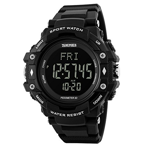 SKMEI Men Digital Sports Watches with Heart Rate Monitor, Pedometer Calorie Military Waterproof Wristwatch for Men Boys