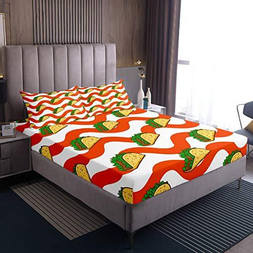 Juego de sábanas para niños y niñas, adolescentes, diseño de rollos de pollo, color rojo, blanco, 2 unidades
