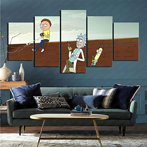 CELLYONE 5 parts of modern art print TV show Rick and Morty posters and paintings for study corridor 150x80cm frameless