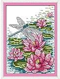 Kits de punto de cruz para adultos Lib¨¦lula en la hoja de loto en el r¨ªo DIY Art Cross Stitch Kits Bordado para principiantes para decoraci¨®n del hogar 16x20inch