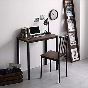 デスク チェア セット ブラウン 幅80cm×奥行40cm コンセント付き 木製 コンパクト オフィス PC パソコン リビング 学習 机