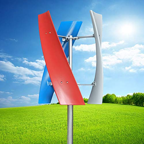 Wind Turbine Generator Kit, 12V/24V 3 Blade Portable Vertical Helix Wind Power Turbine Generator Kit 1.3m/s Starting Wind Speed with Charge Controller for Marine RV Home Industrial Energy