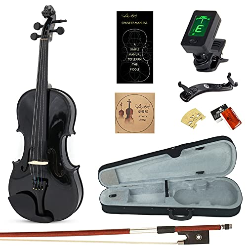 Amdini Solid Spruce 4/4 Violin Kit Varnish Fiddle AC100 Full Size for Adults Beginners Students with Case, Tuner, Manual, Bow, Shoulder Rest, Extra Strings (Black)