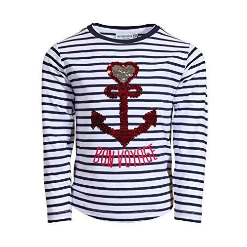 SALT AND PEPPER Mädchen Longsleeve Voyage Stripes Hemd, Navy, 116/122