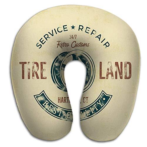 Almohada en Forma de U Servicio de Garaje Servicio de reparación de Tierras de neumáticos Antiguos Tipografía Estampado de impresión Camiseta gráfica Premium Retro