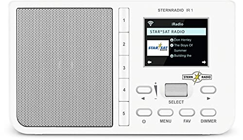 TechniSat STERNRADIO IR 1 - kompaktes Internetradio (WLAN, Farbdisplay, Wecker, Sleeptimer, AUX, Snooze, Direktwahltasten, App-Steuerung) weiß