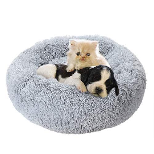 HeTaiDa, letto calmante per cani grande, soffice e soffice, per gatti di grandi dimensioni, diametro 70 cm, colore: grigio