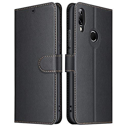 ELESNOW Hülle für Huawei P20 Lite, Premium Leder Klappbar Schutzhülle Tasche Handyhülle mit [ Magnetverschluss, Kartenfach, Standfunktion ] für Huawei P20 Lite (Schwarz)