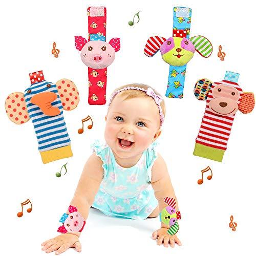 Bloobloomax Baby Einstein Toys Soft Foot Finder Socks Wrists Rattles Ankle Leg Hand Arm Bracelet Activity Rattle Baby Shower Present Essentials for Infant Toddler Boy Girl Bebe