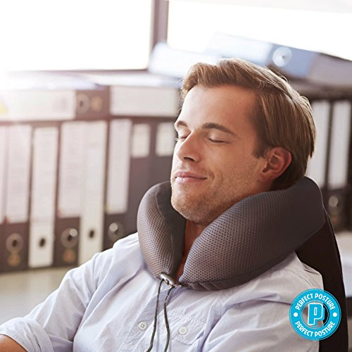 PERFECT POSTURE Memory Foam Neck Pillow for Travel: #1 Recommended, AngelSoft Fabric, CoolTec mesh, Premium Materials, Adjustable Tie by