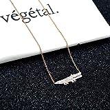 wenhua Collar Colgante para Mujer, Colgante Estilo Anillo Doble, Cadena de clavícula de Oro Rosa, Collar Salvaje, Diamante Blanco