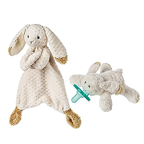 Mary Meyer Oatmeal Bunny WubbaNub Infant Pacifier and Lovey Blanket Bundle Baby Gift Set