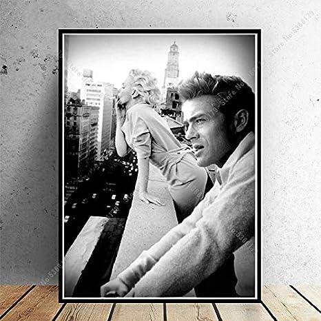 Geschenk Marilyn Monroe James Dean New York Plakatdruck Malerei Wandbild Leinwand Bild Wohnzimmer Wohnkultur 60x90CM N Rahmen