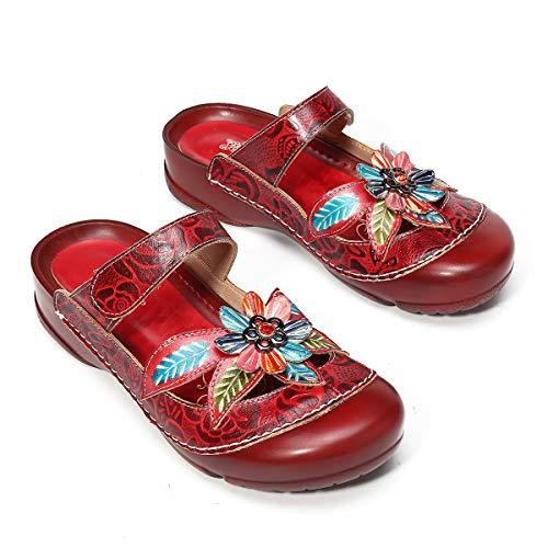 gracosy Mujer Zuecos Cuero Sandalias Fondo Plano Antideslizantes Zapatillas de Playa Verano Zapatos para Caminar al Aire Libre Moda Velcro Suela Goma Cómoda