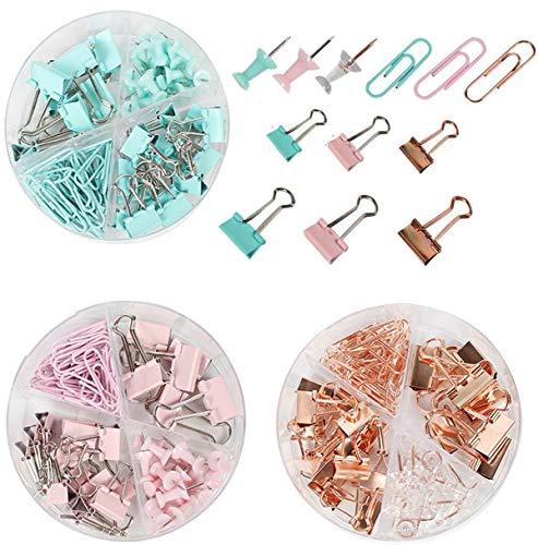 Liuer Chinchetas de Mapa,Pines de Empuje Decorativo Chinchetas Push Pins con Pinzas Clips FoldBack Binder Clips Clips de Papel de Colores para Papel Oficina Escuela Suministros(3 Cajas,3 Colores)