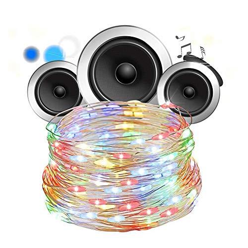 Guoshiy Cadena de luz, Alambre de Cobre Cadena de luz, Resistente al Desgaste para jardín Fiesta de cumpleaños Boda Cumpleaños(Color)