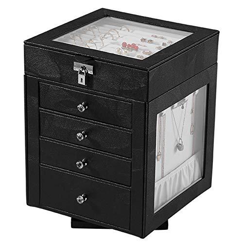 xiaohuozi 360 ° Drehung Schmuckkästchen Hohe Kapazität Schmuckkoffer mit Vier Schubladen Abnehmbares Oberteil Organisieren Sie einfach Ihren Schmuck,Black