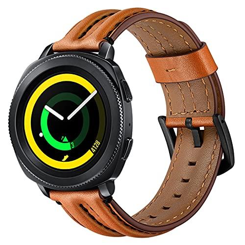 Correas de Cuero Genuino Compatibles con Samsung Gear Sport 4 / Correa de Repuesto de Correa de Cuero Genuino Vintage, Accesorios de Pulsera, para Hombre y Mujer Muñeca de 6.1-8.7